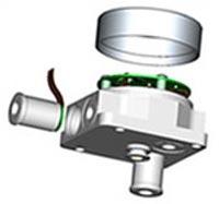 Zeigt einen typischen Sensor, der im GE Druck Betrieb in Leicestershire präzisionsgefertigt wird.